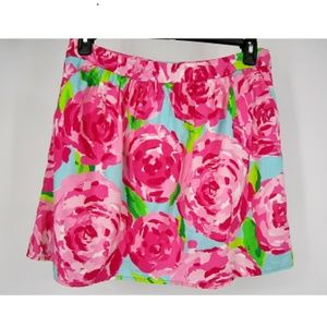 Lilly Pulitzer Roses Pink Multi Floral Skirt